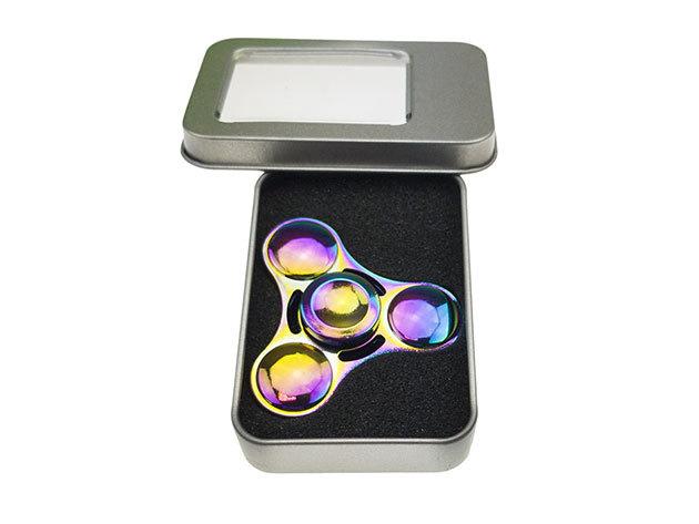 Fidget Spinner - fém, fényes, díszdobozban- színes