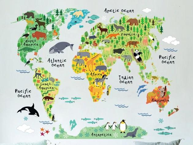 Gyermek világtérkép - óriás falmatrica (150x100 cm) szép dekoráció és hasznos is egyben