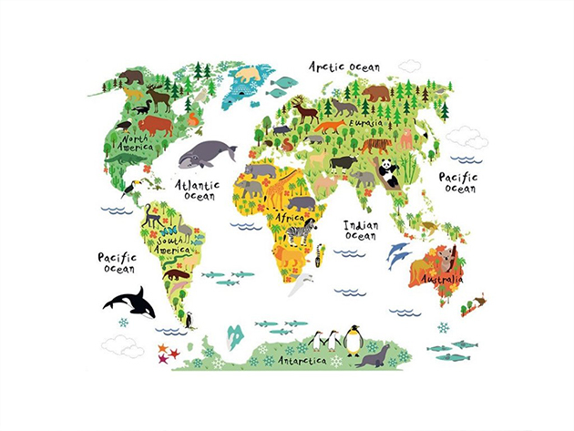 Gyermek világtérkép - falmatrica (150x100 cm)