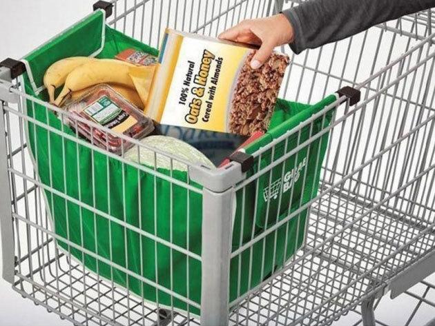 Grab and Bag táska szett (2 db), mely a bevásárlókocsiba akasztható, egyszerűbbé téve a pakolást! 15-20 kg teherbírás!