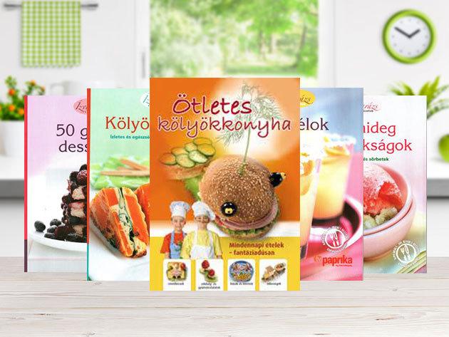 Ötletes szakács- koktél- és desszert könyvek, amit a gyerekek is szeretni fognak: Ötletes kölyökkonyha, 50 gyors desszert...stb.