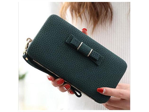 Női clutch táska - sötétzöld