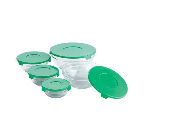 Üveg tárolóedény szett, 10 db-os, Zöld (BL-1338)