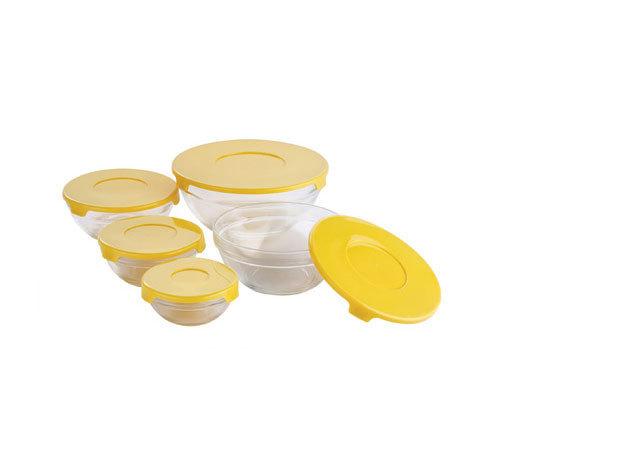 Üveg tárolóedény szett, 10 db-os, Sárga (BL-1338)