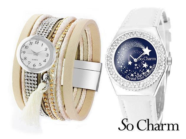 Női karóra Swarovski kristályokkal díszítve, egyedi dizájnnal - 'So Charm' (francia márka)