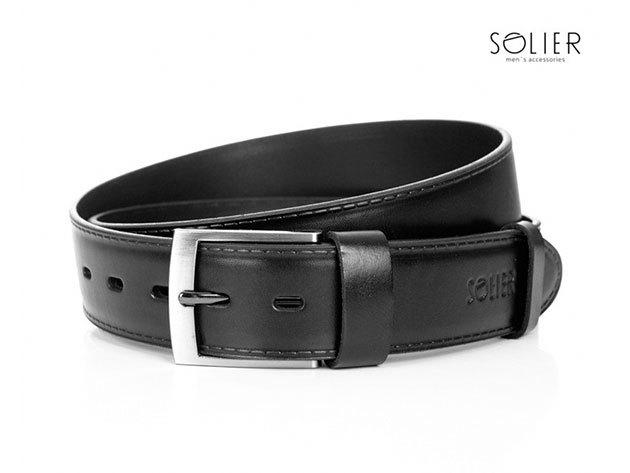 Solier férfi bőr öv - SB05black - 95 cm