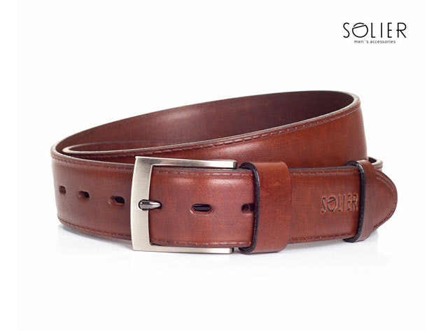 Solier férfi bőr öv - SB05brown - 105 cm