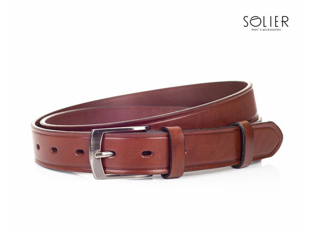 Solier férfi bőr öv - SB01brown - 95 cm