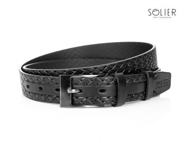 Solier férfi bőr öv - SB02black - 95 cm