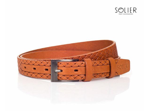 Solier férfi bőr öv - SB02lightbrown - 95 cm