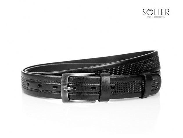 Solier férfi bőr öv - SB03black - 95 cm