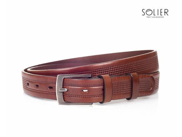 Solier férfi bőr öv - SB03brown - 95 cm