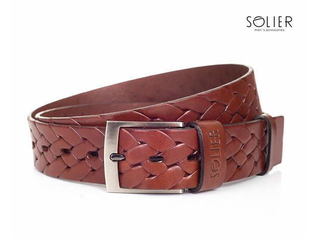 Solier férfi bőr öv - SB04brown - 95 cm