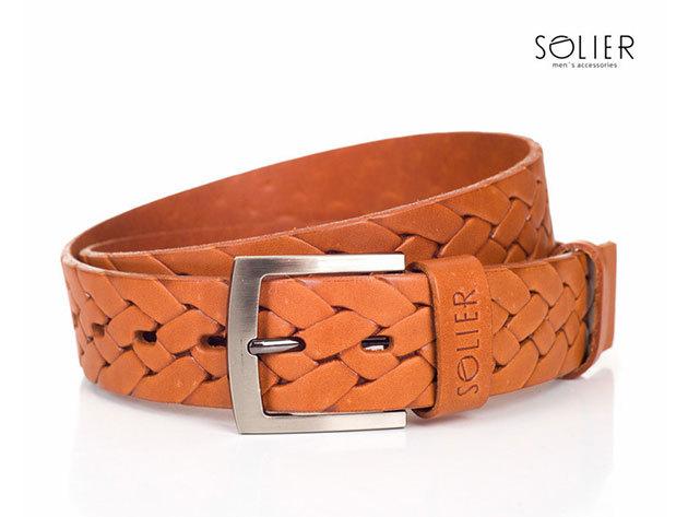 Solier férfi bőr öv - SB04lightbrown - 95 cm