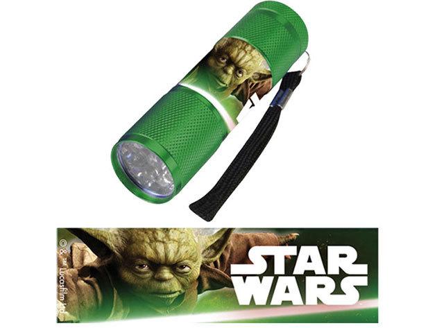 Gyermek alumínium LED zseblámpa / Star Wars zöld