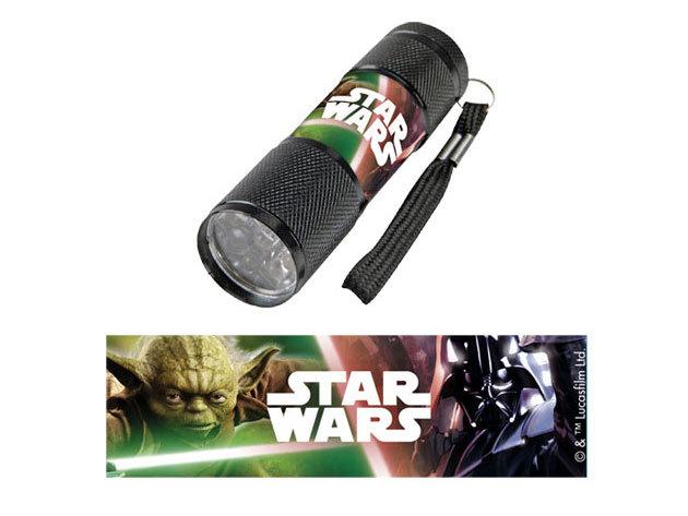 Gyermek alumínium LED zseblámpa / Star Wars fekete