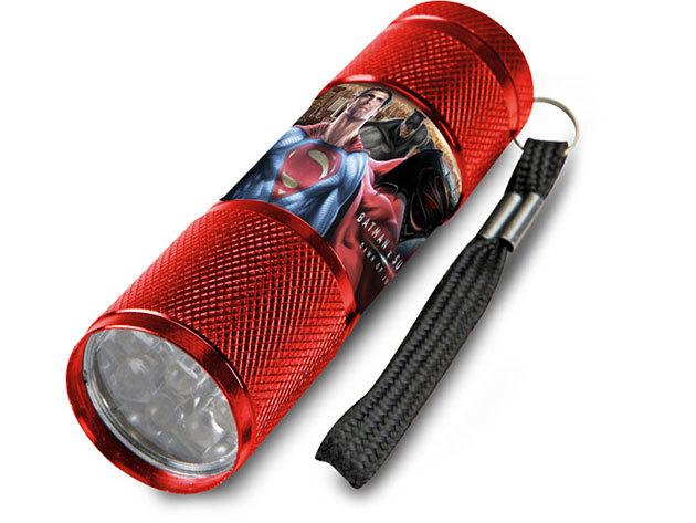 Gyermek alumínium LED zseblámpa / Batman vs. Superman piros