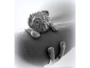 Kutyás ezüst gyűrű - mopsz