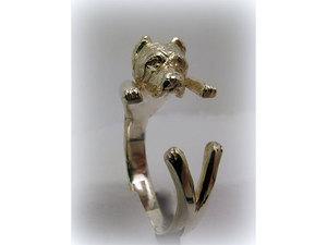 Kutyás ezüst gyűrű - vágott fülü canecorso