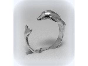 Delfines ezüst gyűrű
