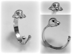 Kutyás ezüst gyűrű - Spániel