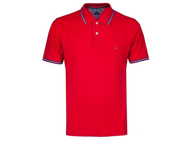 Tommy Hilfiger férfi galléros póló - piros - L