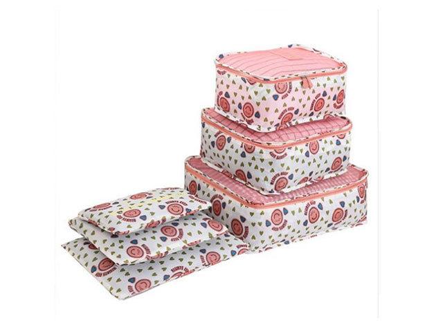 6 db-os Bőrönd rendező szett - rózsaszín
