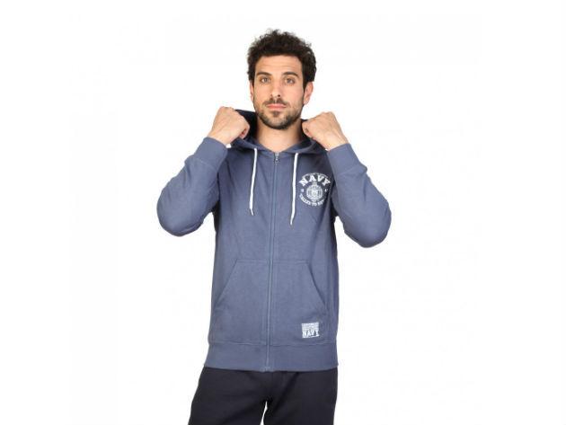 CHAMPION férfi kapucnis cipzáras pulóver  - kék - BL10128 - XXL