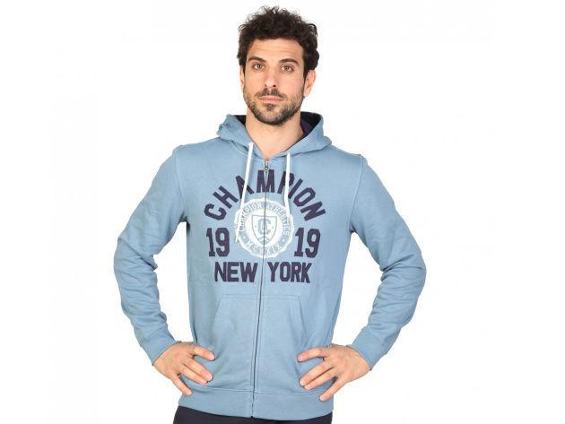 CHAMPION férfi kapucnis cipzáras pulóver  - kék - BL10133 - M