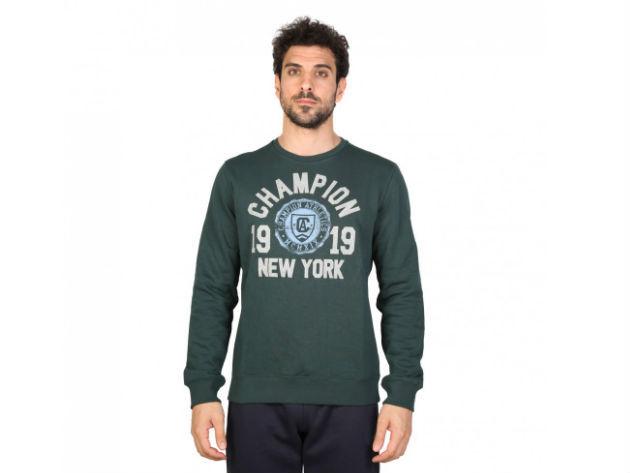 CHAMPION férfi kereknyakú pulóver  - zöld - BL10148 - L
