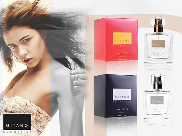 """Gitano Perfume """"Isabella"""" női és """"Angelo"""" férfi 50 ml-es parfümök, hosszan tartó, finom illattal"""