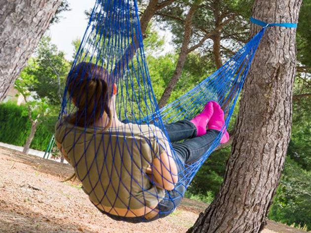 Adventure Goods függőágy több színben - 100% pamutból, hálós kialakítással, 120 kg teherbírással