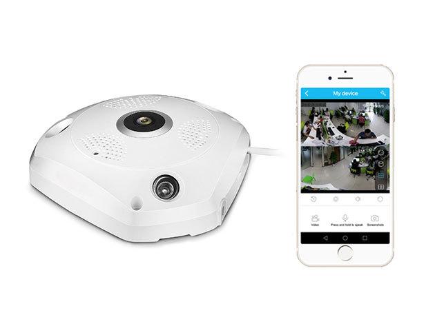 Megfigyelő kamera - wifi kapcsolódással, 220°-os panoráma felvétellel, IOS/Android támogatással, beépített mikrofonnal és hangszóróval