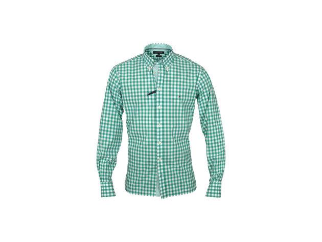 Tommy Hilfiger férfi hosszú ujjú zöld-fehér apró kockás ing - L
