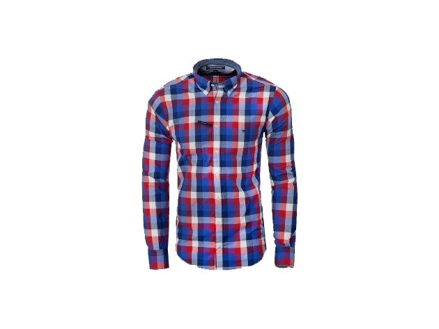 Tommy Hilfiger férfi hosszú ujjú piros-kék-fehér kockás ing - XL