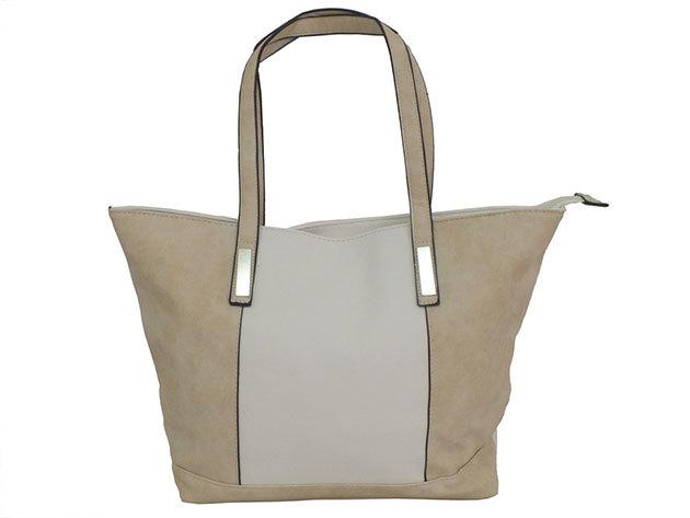 Fehér-világosbarna színű női divattáska - TAS-10 (41x28x12cm)