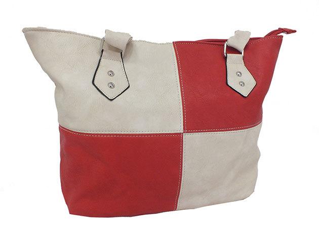 Világosbarna - piros kockás női divattáska - TAS-02 (40x28x13cm)