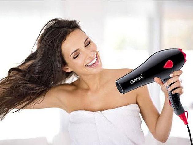 GEMEI hajszárító 1500W 3 állítható hőfokkal és 2 sebességgel - kényelmes markolat, ergonomikus kialakítás