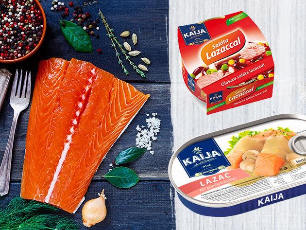 KAIJA lazacfilé ínyenc szószokban (170 gramm) és tonhalsaláták (185 gramm) az egészséges táplálkozáshoz
