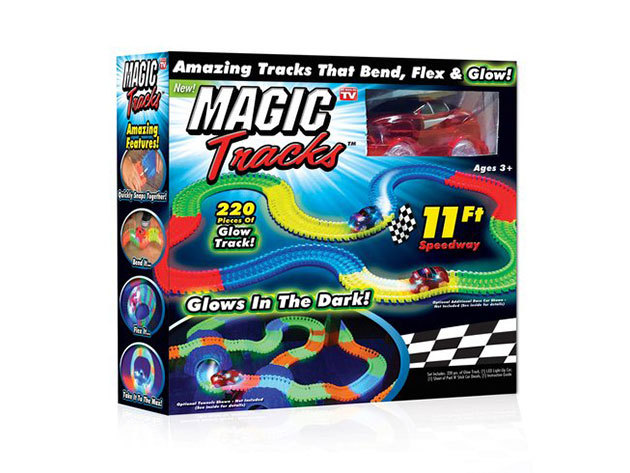 Magic Track - 2,5 méter hosszú mágikus autópálya flexibilis kialakítással és LED-es kisautóval