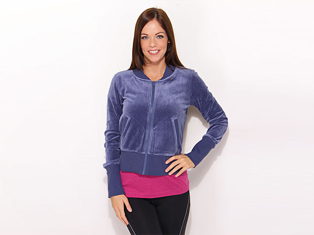 Adidas Velvet Tracktop - női cipzáras pulóver - kék - O06232 - 36