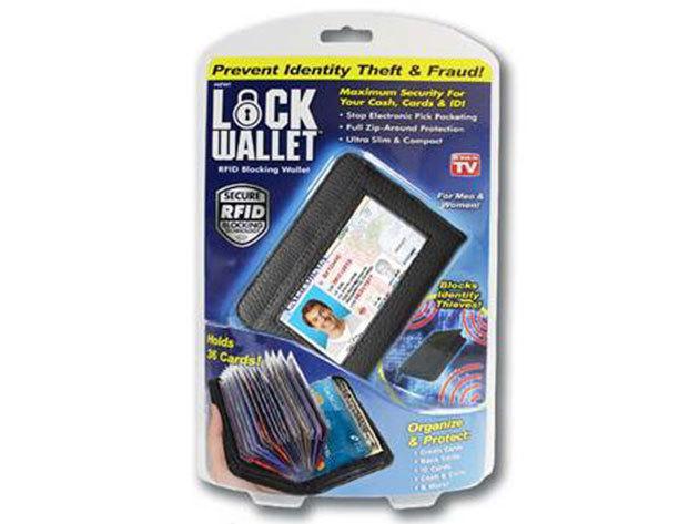 Leolvasásvédő biztonsági tárca - Lock wallet / RFID-blokkoló alumínium pajzzsal