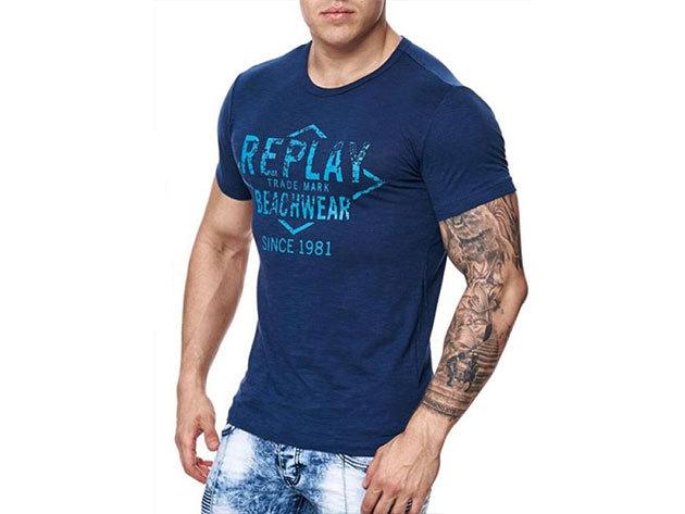 Replay férfi kék póló (L)