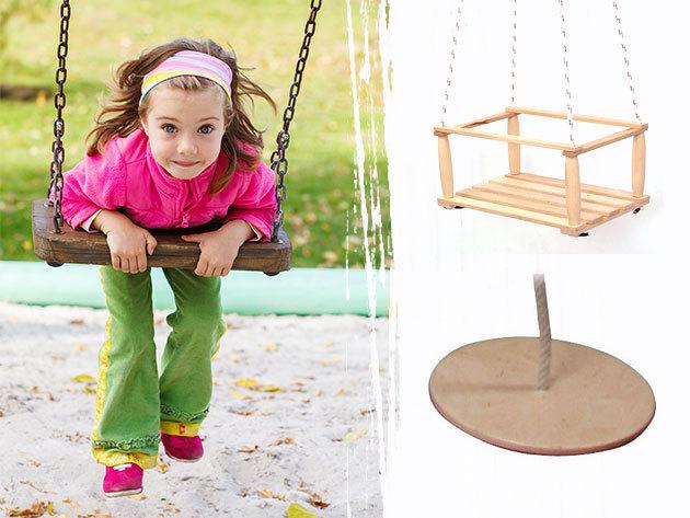 Fa hinták, kötéllétrák, ugrálókötelek változatos kivitelben/méretben, beltérre és kültérre egyaránt