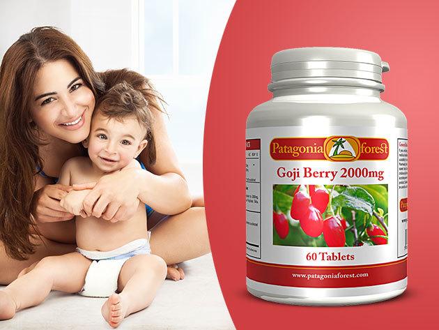 GOJI bogyó kapszulák / 60 db, 2000 mg / étrend-kiegészítő antioxidáns és immunerősítő hatással, magas C-vitamin, vas és béta-karotin tartalommal