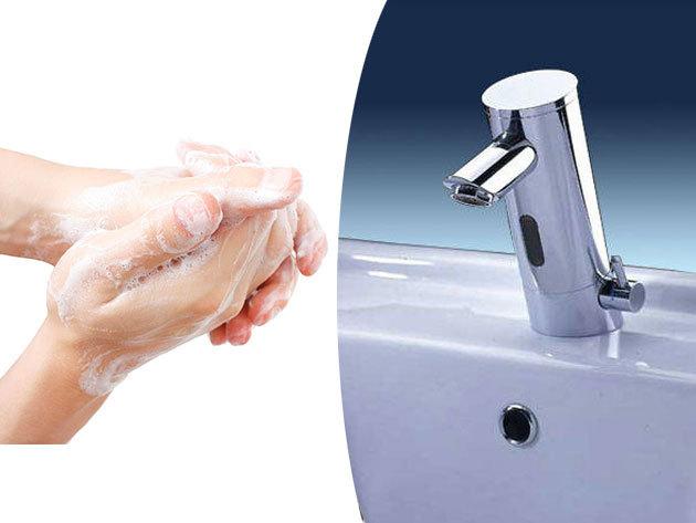Szenzoros csaptelep - hosszú élettartamú, víztakarékos és nagyon higiénikus, mivel csap nyitása-zárása nem kézzel történik