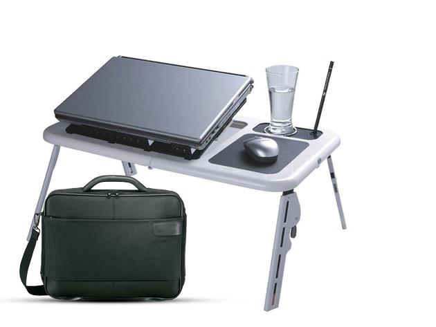 Laptoptartó – hűtő asztal + laptoptáska – ajándék egérpaddal (kiszállítással)