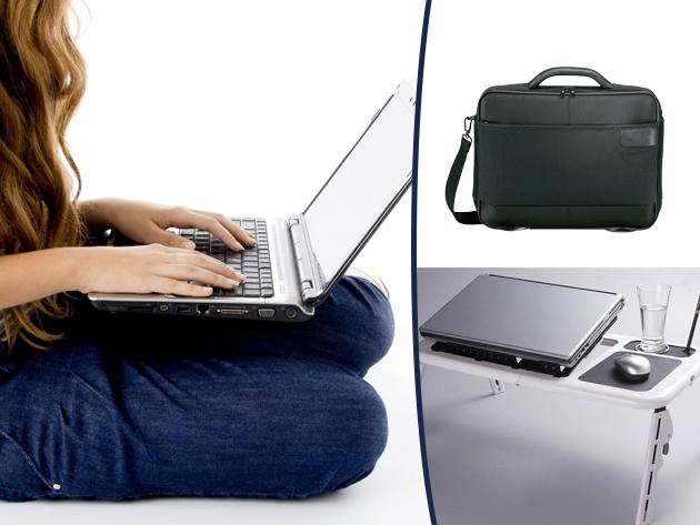Laptoptartó és hűtő asztal, laptoptáskával és ajándék egérpaddal, a teljes kényelemért.