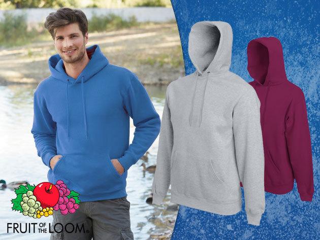 Kapucnis férfi pulóver 8 divatos színben, S-XXL méretig, vastag, puha pamut anyagból - Fruit of the Loom