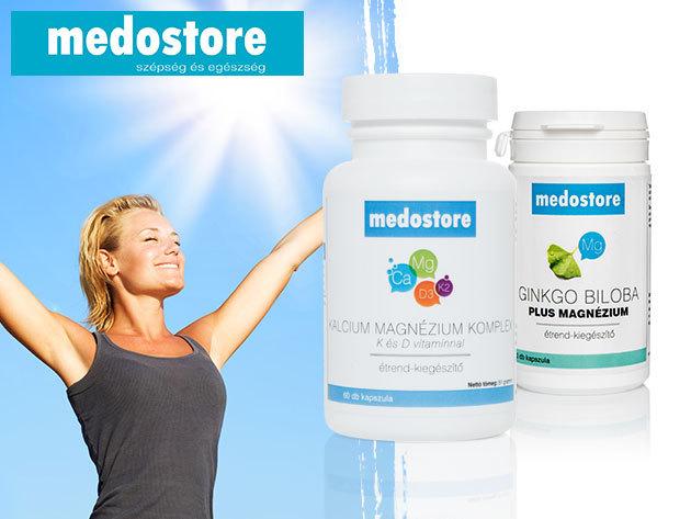 Kálcium Komplex K- és D-vitaminnal az erős csontokért és Ginkgo Biloba plus Magnézium a szellemi frissességért (étrend-kiegészítők, 6 havi adag)